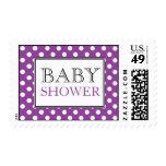 Polka Dot Purple Baby Shower Postage Stamps