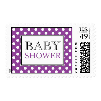 Polka Dot Purple Baby Shower Postage Stamps