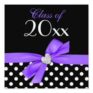 Polka Dot Purple Black Bow Heart Graduation Party Card