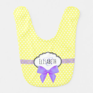 Polka dot purple bow monogram name baby girl bib