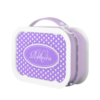 Polka dot purple girls name & monogram lunch box