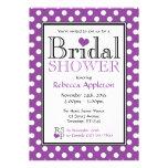 Polka Dot Purple Heart Bridal Shower Invitations