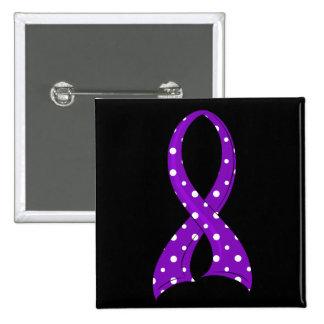 Polka Dot Purple Ribbon Crohn's Disease 2 Inch Square Button