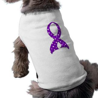 Polka Dot Purple Ribbon Crohn's Disease Dog Tee Shirt