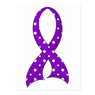 Polka Dot Purple Ribbon Crohn's Disease Postcard