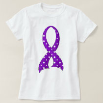 Polka Dot Purple Ribbon Crohn's Disease T-Shirt