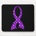 Polka Dot Purple Ribbon Epilepsy Mousepad
