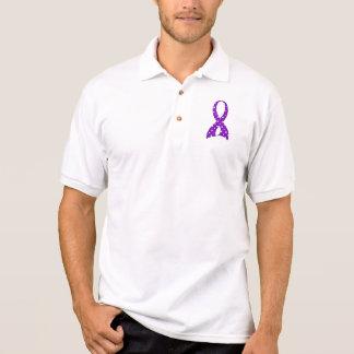 Polka Dot Purple Ribbon Epilepsy Polo Shirt