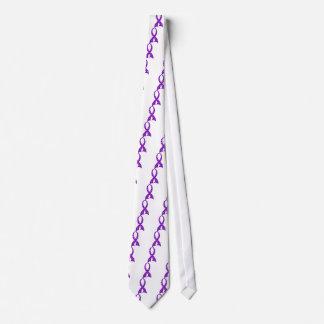 Polka Dot Purple Ribbon Fibromyalgia Tie