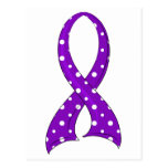 Polka Dot Purple Ribbon Lupus Postcard