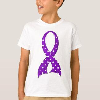 Polka Dot Purple Ribbon Pancreatic Cancer T-Shirt