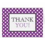 Polka Dot Purple & White Thank You Card