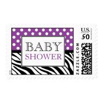 Polka Dot Purple & Zebra Print Baby Shower Postage
