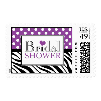 Polka Dot Purple Zebra Print Bridal Shower Postage