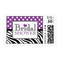 Polka Dot Purple Zebra Print Bridal Shower Postage