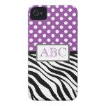 Polka Dot Purple & Zebra Print iPhone 4/4S Case iPhone 4 Case-Mate Case