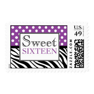 Polka Dot Purple Zebra Print Sweet Sixteen Postage