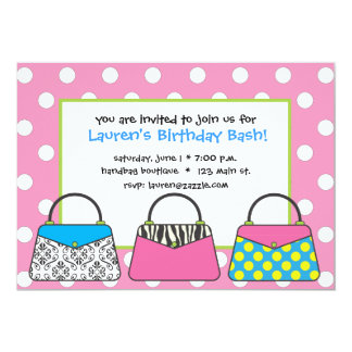 Polka Dot Purse Handbag Invitation