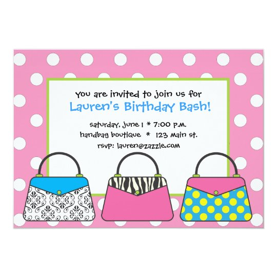 Polka Dot Purse Handbag Invitation