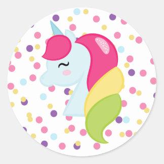 Polka Dot Rainbow Unicorn Stickers