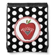 Polka Dot Red Apple Teacher Drawstring Backpack