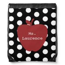 Polka Dot & Red Apple Teacher Drawstring Backpack