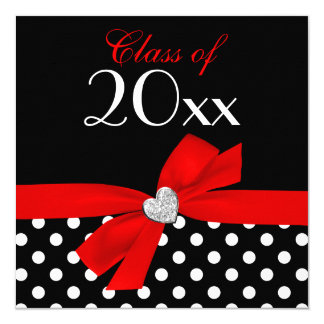 Polka Dot Red Black Bow Heart Graduation Party Card