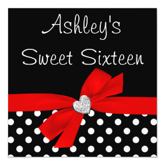 Polka Dot Red Black Bow Heart Sweet 16 5.25x5.25 Square Paper Invitation Card