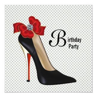 Polka Dot Red Black High Heel Shoe Birthday Party Card