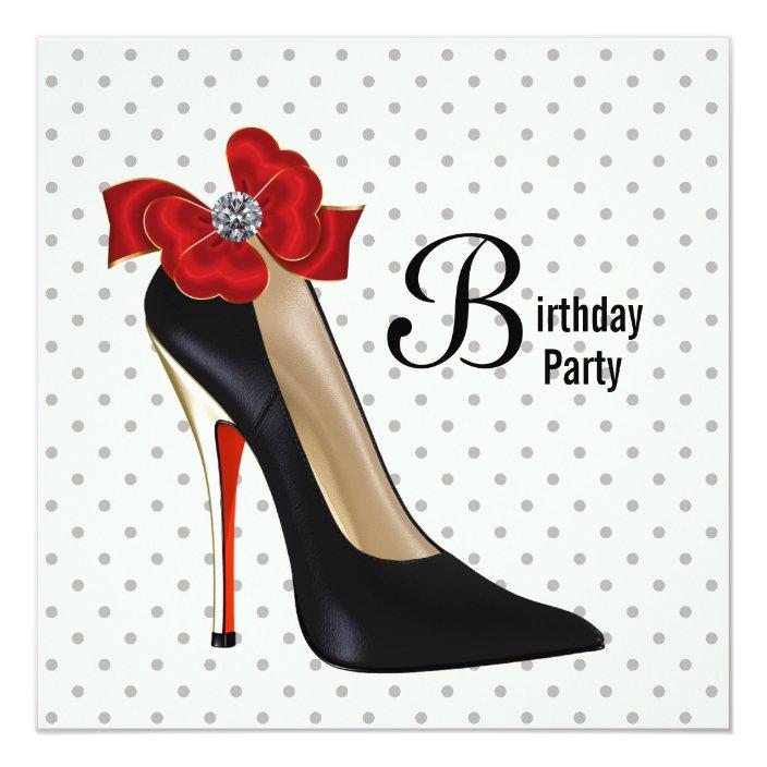 Polka Dot Red Black High Heel Shoe