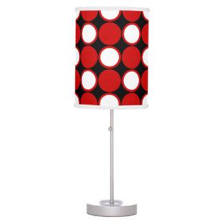 Polka dot red black white table lamps