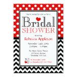 "Polka Dot Red & Chevron Bridal Shower Invitations 5"" X 7"" Invitation Card"