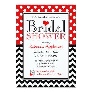 Polka Dot Red & Chevron Bridal Shower Invitations