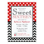 Polka Dot Red & Chevron Sweet Sixteen Invitations