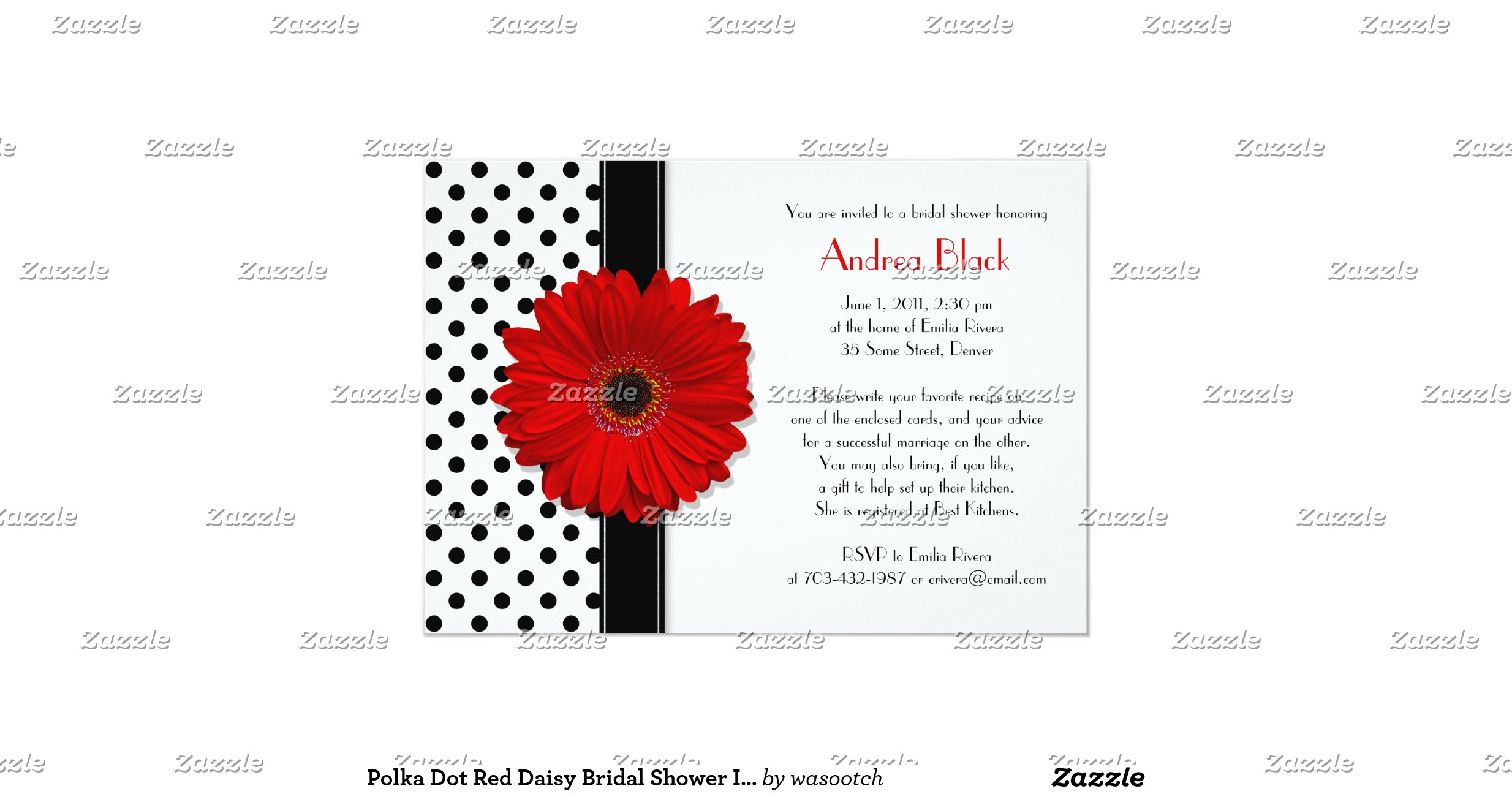 daisies polka dots bridal shower - bridal invitation yellow soft ...