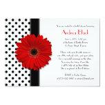 Polka Dot Red Daisy Bridal Shower Invitation