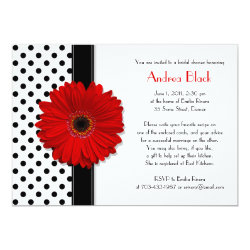 Polka Dot Red Daisy Bridal Shower Invitation