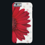 "Polka Dot Red Daisy Custom Name Barely There iPhone 6 Case<br><div class=""desc"">This case is designed with a pale pastel polka dot background,  and a red daisy on one side. You can personalize this case by inserting your name on one of the flower petals! This case is sure to get you many compliments and is one of a kind!</div>"