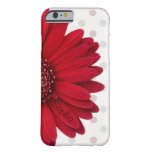 Polka Dot Red Daisy Custom Name Barely There iPhone 6 Case