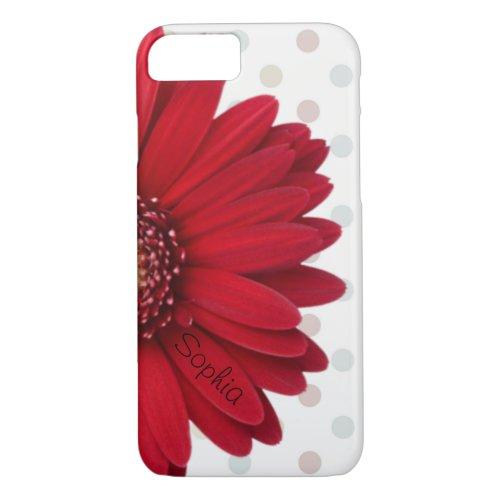 Polka Dot Red Daisy Custom Name Phone Case