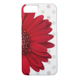 Polka Dot Red Daisy Custom Name iPhone 7 Case
