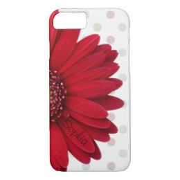 Polka Dot Red Daisy Custom Name iPhone 8/7 Case