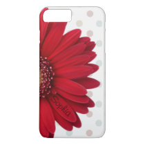 Polka Dot Red Daisy Custom Name iPhone 8 Plus/7 Plus Case