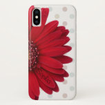 "Polka Dot Red Daisy Custom Name iPhone X Case<br><div class=""desc"">This case is designed with a trendy red daisy on a pastel polka dot background,  and can be customized with a name or text of your choice on the flower petal! Makes a great case for someone that loves modern design or personalized gifts.</div>"