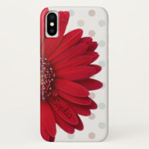 Polka Dot Red Daisy Custom Name iPhone X Case