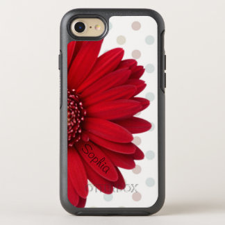 Polka Dot Red Daisy Name OtterBox Symmetry iPhone 7 Case