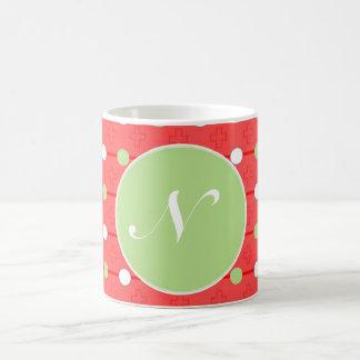 Polka dot red & green custom mug