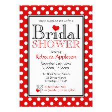 Polka Dot Red Heart Bridal Shower Invitations