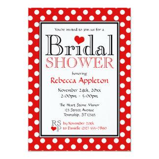 "Polka Dot Red Heart Bridal Shower Invitations 5"" X 7"" Invitation Card"