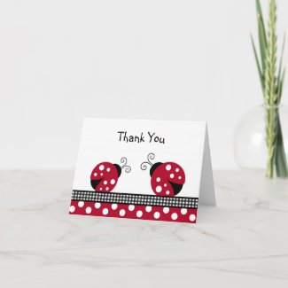 Polka Dot Red Ladybug Thank You Note Cards